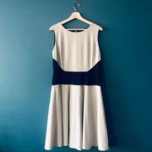 Calvin Klein Fit & Flare Black & Cream Dress